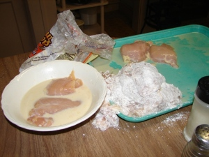 Chicken in various stages, pre-frying
