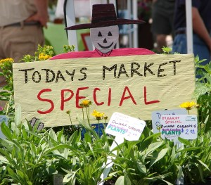 Cute sign advertising market specials