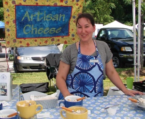 Sampling artisan cheeses at Asheville City Market