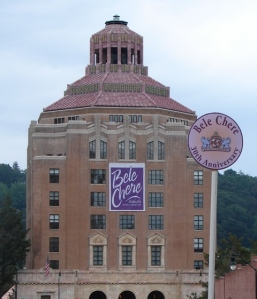Asheville's City Building wears a Bele Chere banner
