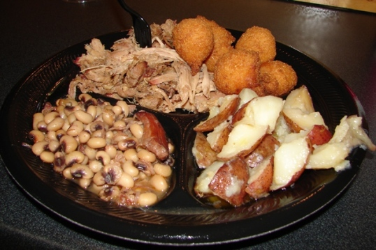 Pulled pork w/black-eyed peas and new potatoes