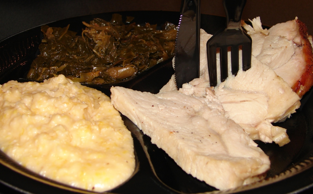 roast turkey w/cheese grits and collards
