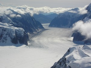 View down into one of the glaciers surrounding Denali