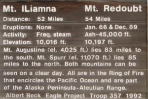 Mt. Iliamna & Mt. Redoubt sign