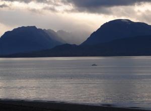 The sun barely breaking over the Kenai Mountains