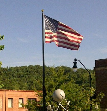 American flag flying in downtown Asheville