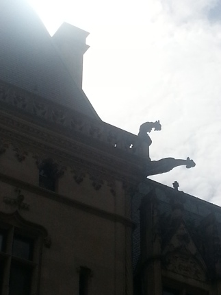 A grotesque and a gargoyle on the roof of Biltmore House