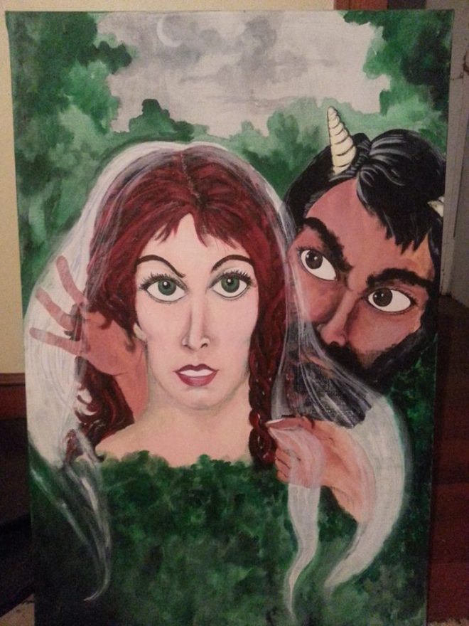 """Bride of Pan;"" 1985. 24x36; acrylic on canvas."