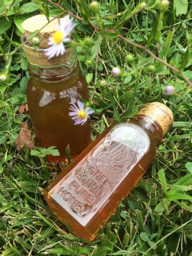 Glass bottles of honey